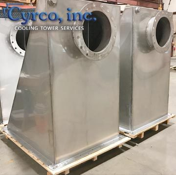 Fabricated replacement cold water collection basin